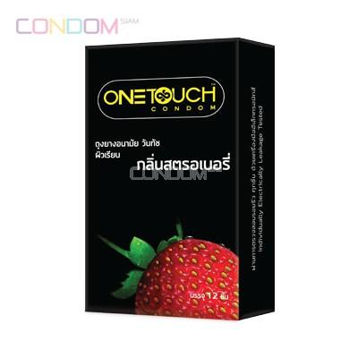 One Touch Strawberry (วันทัช กลิ่นสตรอเบอรี่) แพ็ค 12 ชิ้น ถุงยางอนามัยถุงยางอนามัย ชนิดผิวเรียบ