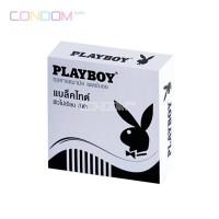 ถุงยางอนามัย Playboy Black Tie (ผิวไม่เรียบ สีดำ 52มม)